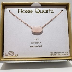 "LAROCKS rose quartz 16""sterling silver necklace"
